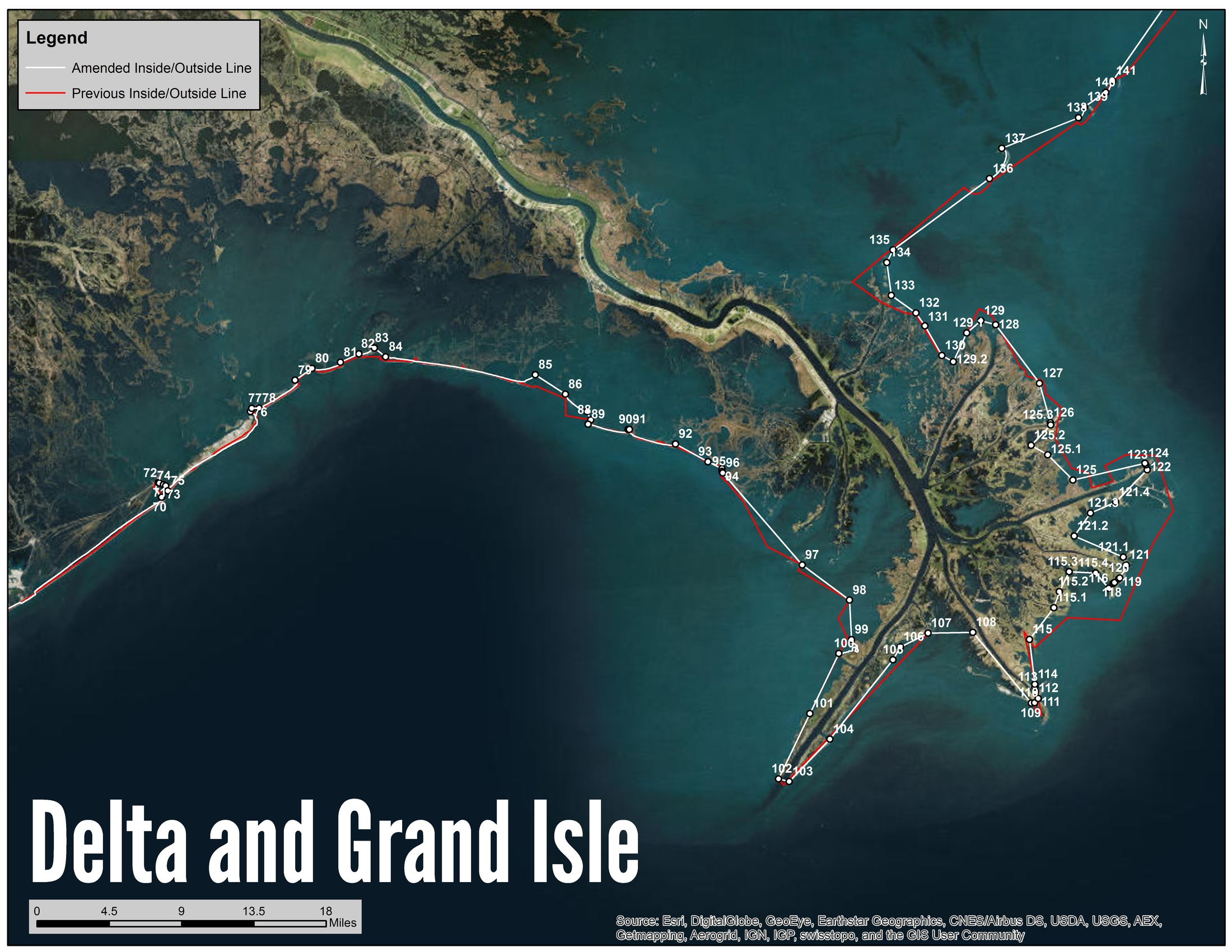 Delta and Grand Isle Shrimp Line Map
